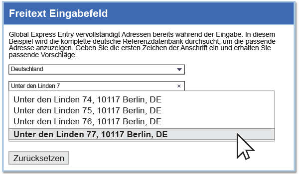 Address Autocomplete - Free Form Search Entry - Germany