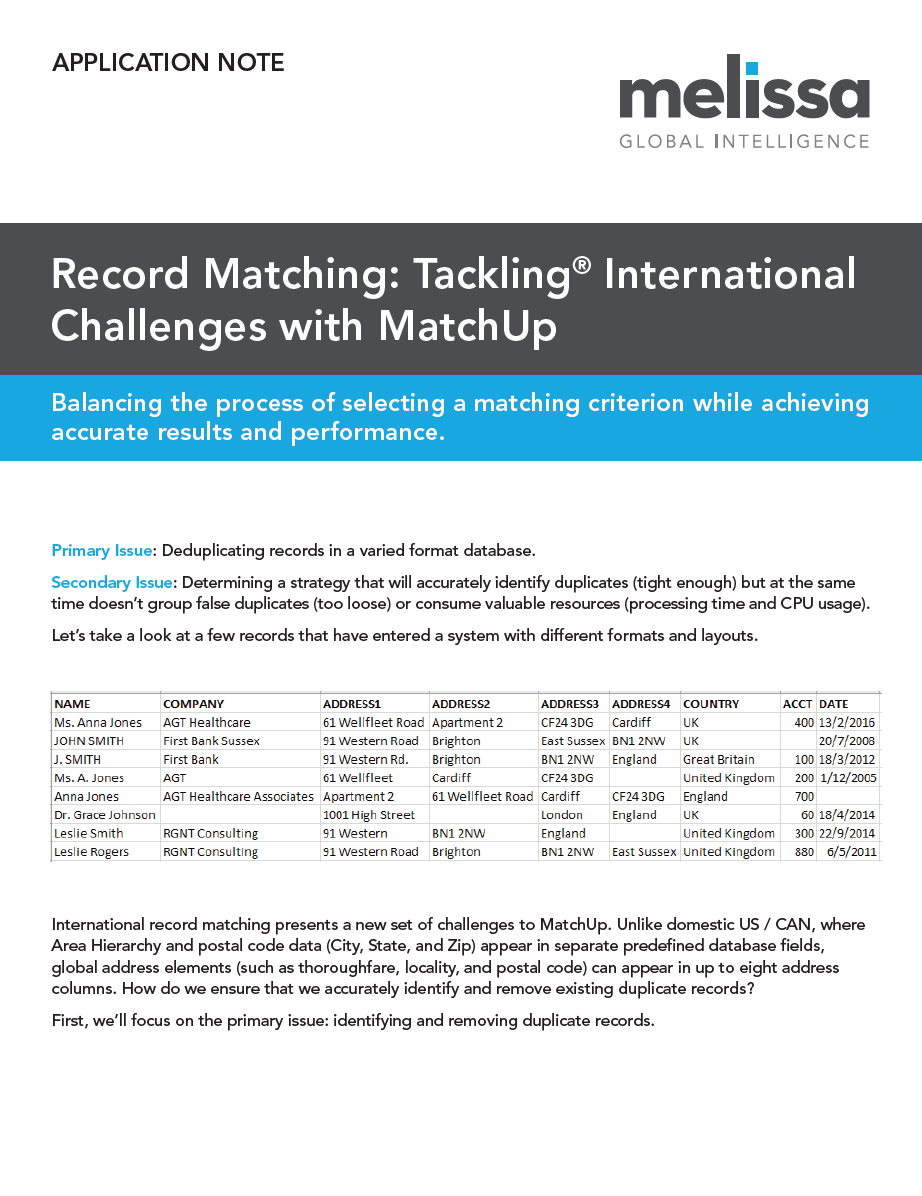 White Paper - Tackling International Challenges MatchUp